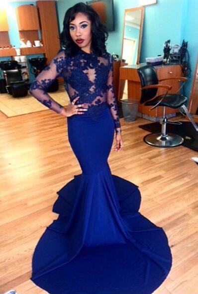 Long-Sleeves Royal-Blue Sheer Long Mermaid Lace Prom Dresses
