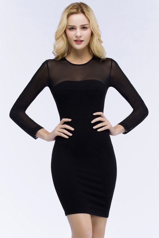 ROBERTA | Sheath Long Sleeves Sheer Neckline Plus Size Short Black Homecoming Dresses