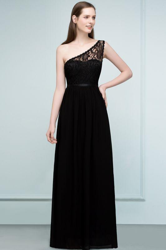 SYBIL   A-line One-shoulder Floor Length Lace Chiffon Bridesmaid Dresses with Sash