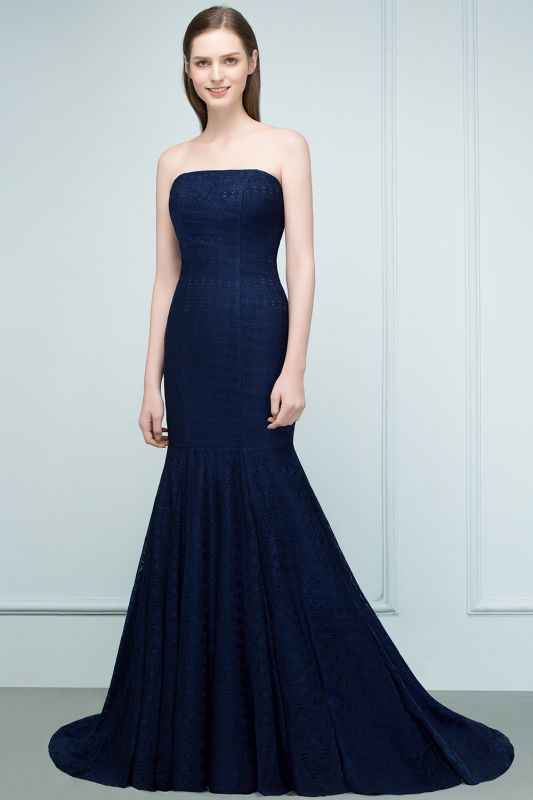 RAMONA   Mermaid Strapless Floor Length Lace Prom Dresses