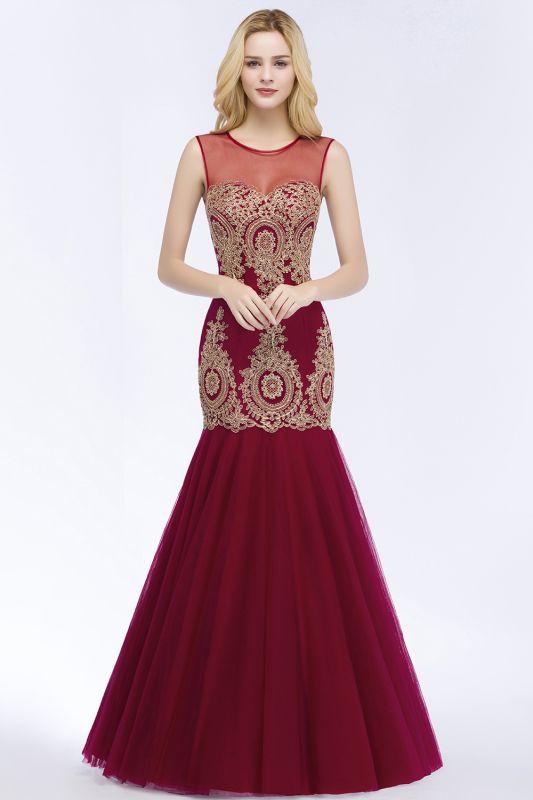 RUBY | Mermaid Sleeveless Sheer Neckline Appliqued Burgundy Tulle Prom Dresses