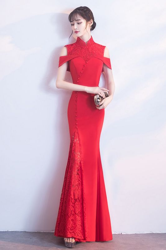 Mermaid High Neck Floor Length Red Lace Hollow Lace-up Prom Dresses/Formal Evening Gowns