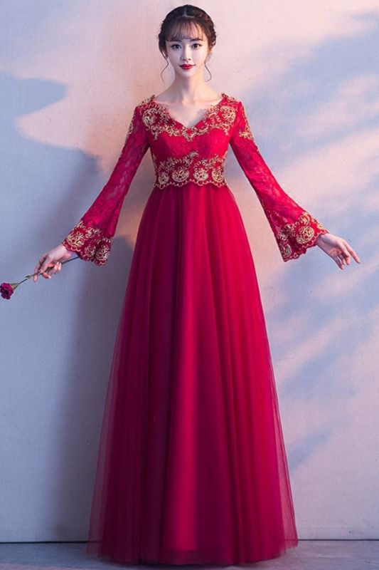 A-line Long Sleeves V-neck Lace-up Red Tulle Prom Dresses/Formal Evening Gowns with Lace Appliques