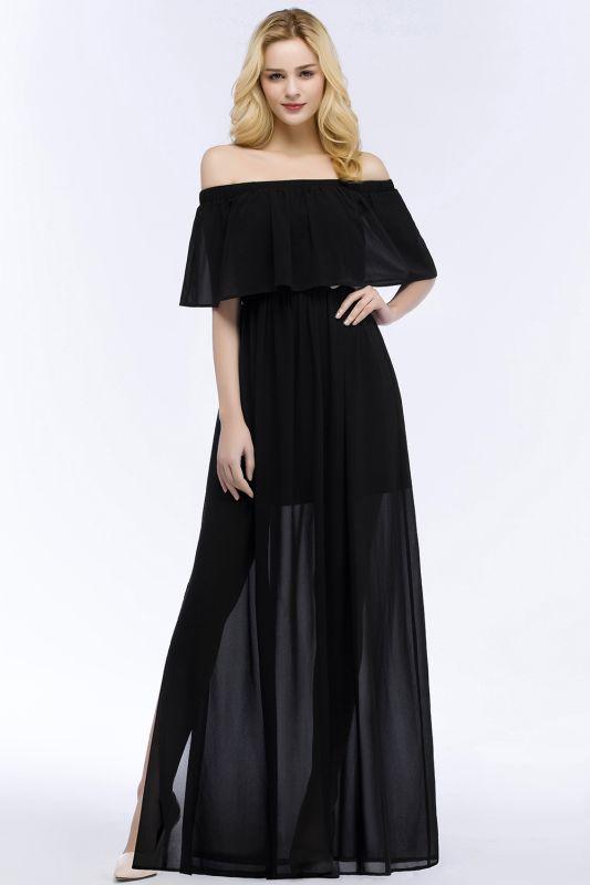 PANDORA | A-line Off-the-shoulder Floor Length Black Chiffon Bridesmaid Dresses