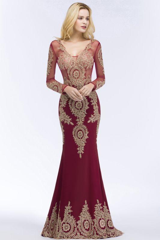 RUTH | Mermaid V-neck Floor Length Long Sleeves Appliques Prom Dresses