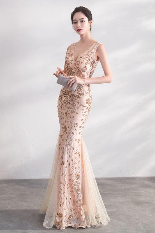 Mermaid V-neck Sleeveless Floor Length Golden Sequined Patterns Tulle Prom/Formal Evening Dresses