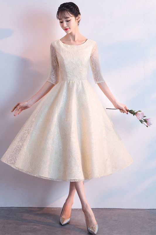 A-line Scoop Half Sleeves Tea Length Sequined Patterns Homecoming/Cockatail Dresses