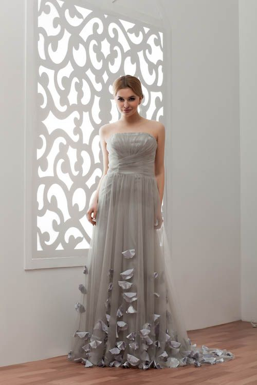 LIA | A-Line Strapless Floor Length Tulle Bridesmaid Dresses