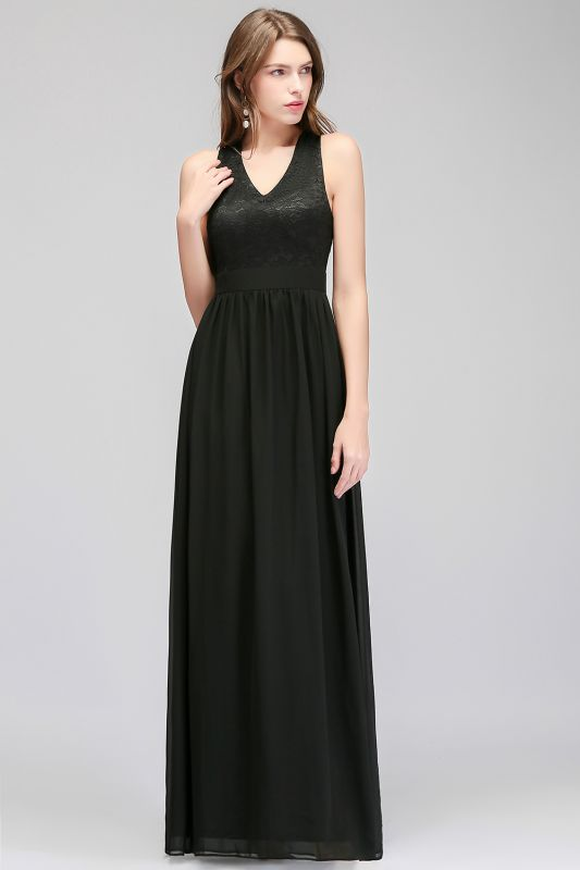 Lace V-Neck A-line Crisscross Chiffon Black Evening Dress