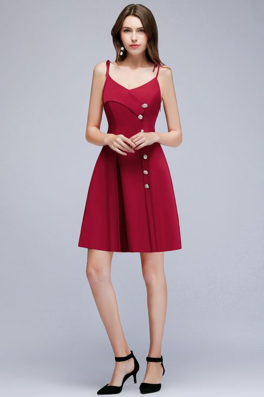 Sweetheart Straps Length Homecoming A-Line Dresses Knee Spaghetti with Buttons