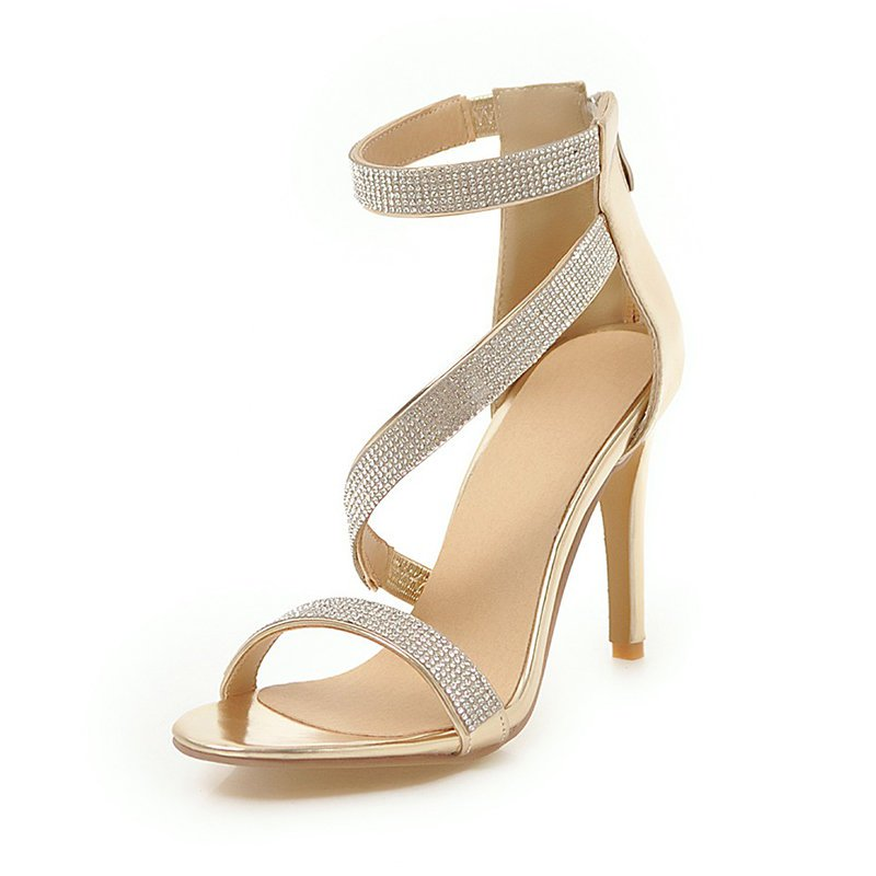 Rhinestone Cocktail Sparkling Glitter Zipper Stiletto Sandals