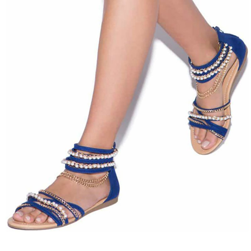 Chain Open Toe Imitation Pearl Daily Summer Sandals