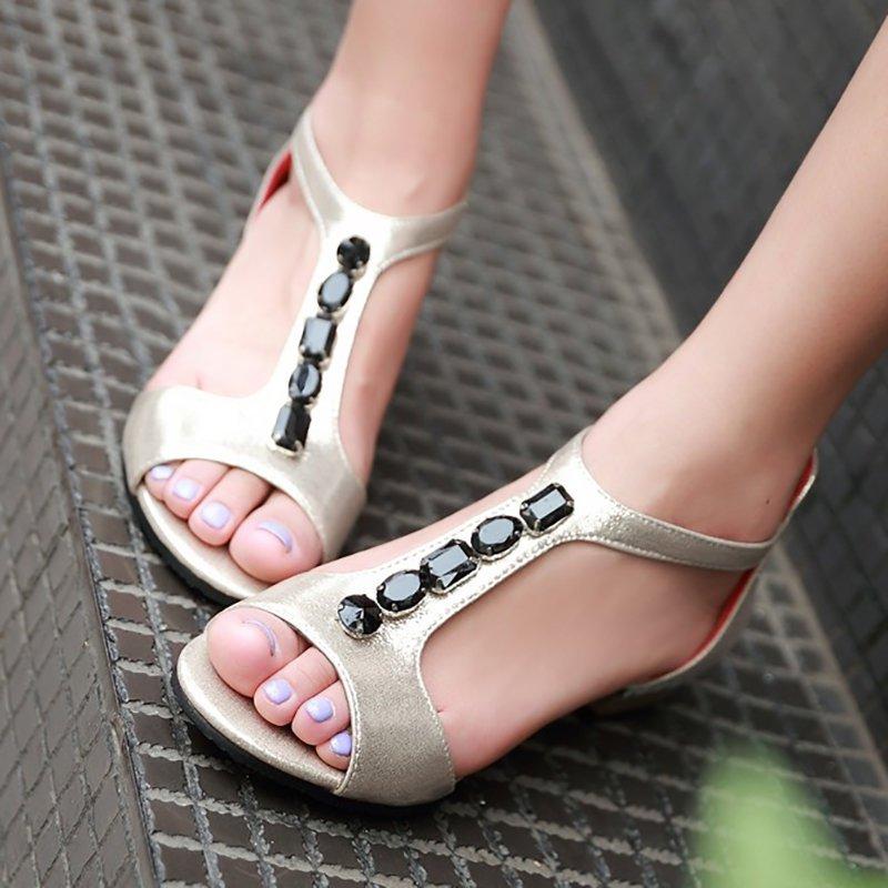 Rhinestone PU Daily Peep Toe Zipper Summer Sandals
