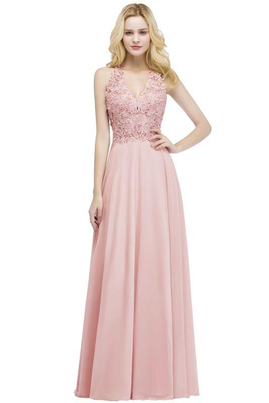 PAM   A-line V-neck Sleeveless Long Appliques Chiffon Bridesmaid Dresses