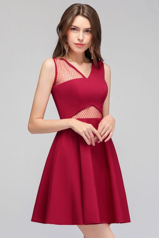 MANDY   A-line Sleeveless Short V-neck Tulle Neckline Homecoming Dresses