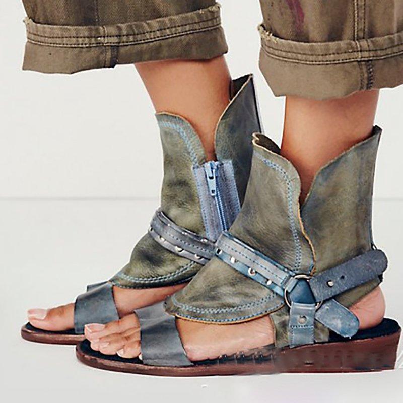 Rivet PU Flat Summer Daily Peep Toe Buckle Sandals