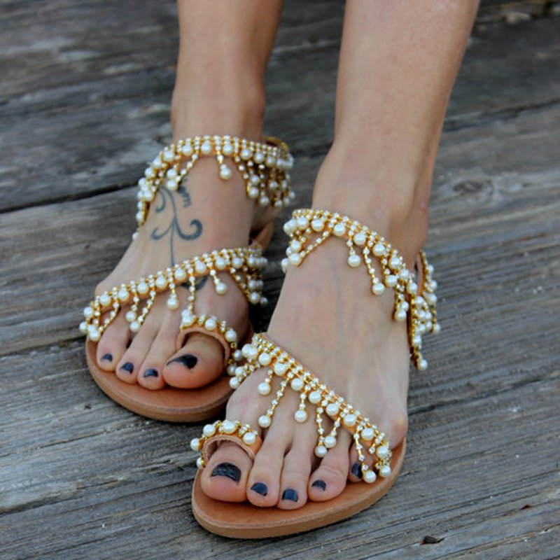 a1ed5d33573f3b Women Leather Sandals Casual Pearls Shoes