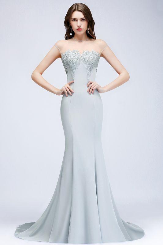 Beading Elegant Sheer-Neck Cap-Sleeves Mermaid Bridesmaid Dresses