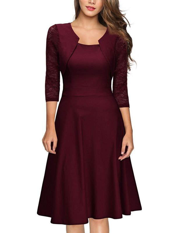 Half Sleeve Burgundy Women's Cocktail Evening Party Dress
