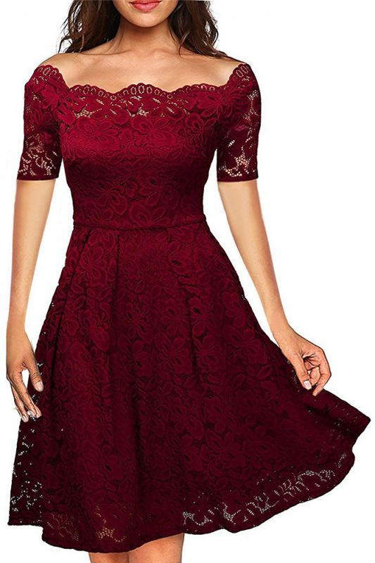 814062cad7fbd Boat Neck Cocktail Swing Dress Black Long Sleeve Floral Lace Knee Length  Formal Party Dresses