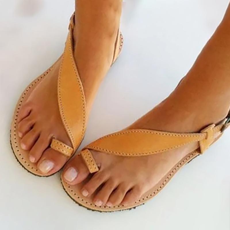 Brown Flat Heel Summer Buckle Sandals