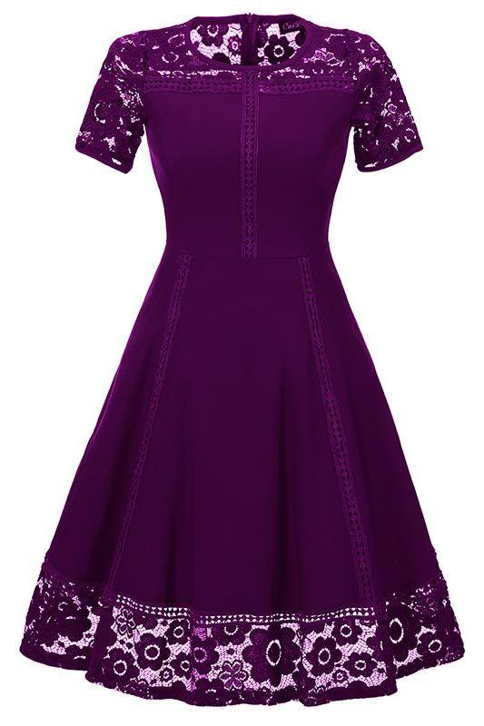 Elegant Women Round Neck Vintage Lace Dress Homecoming Dress
