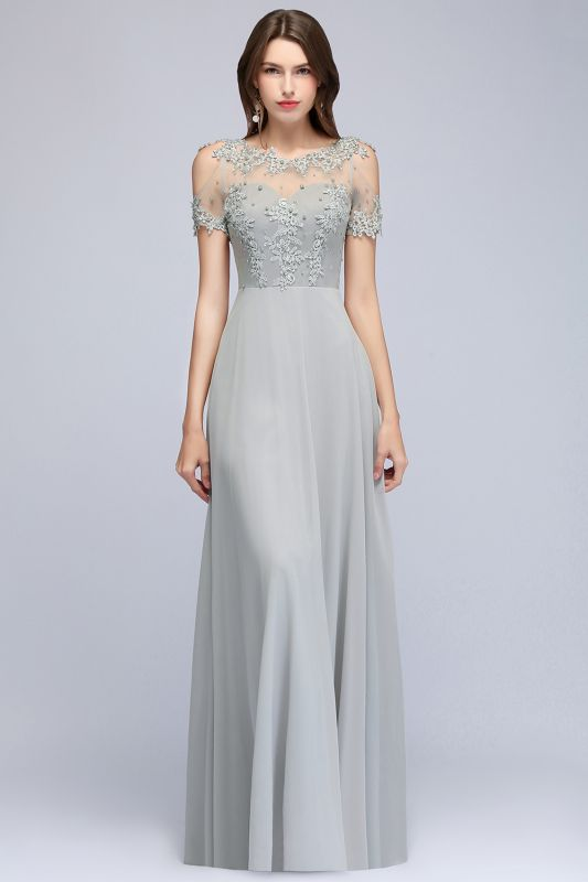 Appliques A-Line Cold-Shoulder Scoop Cheap Beaded Silver Bridesmaid Dresses