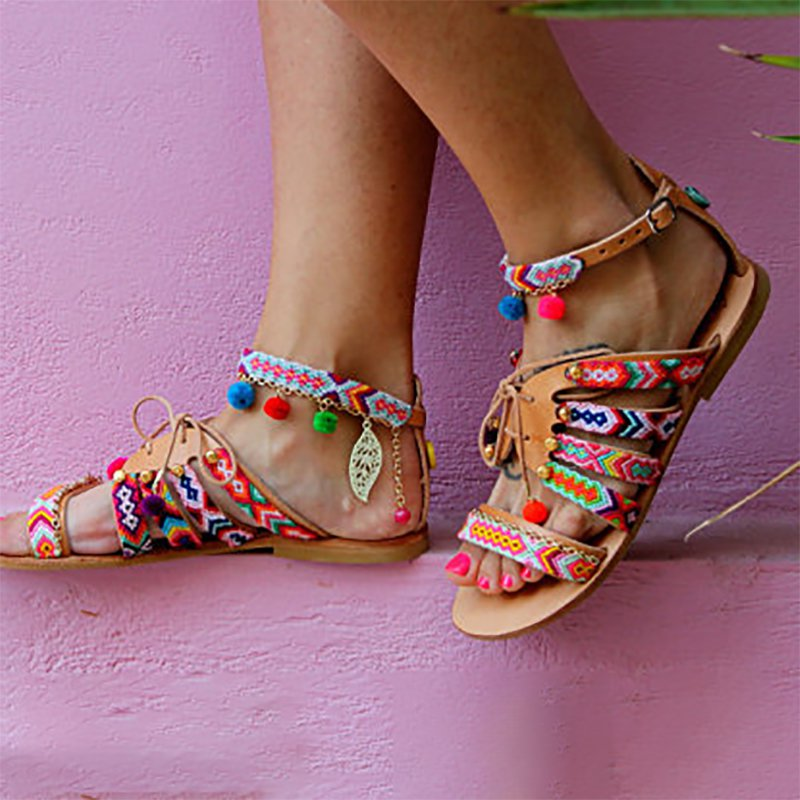 Multicolor Beach Buckle Chain Sandals