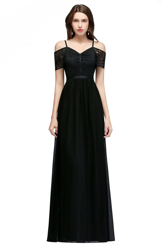 Lace Sexy Cold-Shoulder Chiffon Black Short-Sleeves Evening Dress