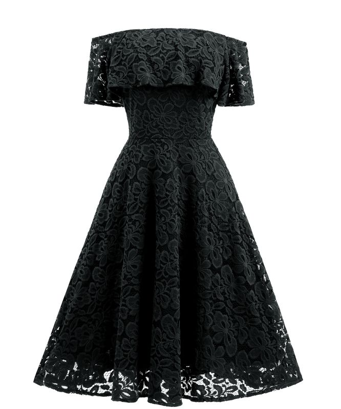 Women's Vintage Floral Lace Off Shoulder Cocktail Evening Party Swing Dress