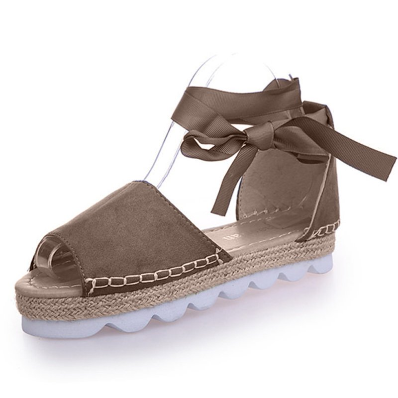 Lace-up Casual Flocking Platform Sandals