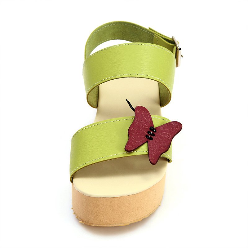 Butterfly Daily Buckle Peep Toe Platform Wedge Sandals