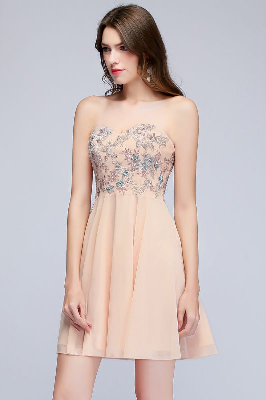 MADELINE | A-line Short Strapless Sweetheart Beading Appliques Homecoming Dresses