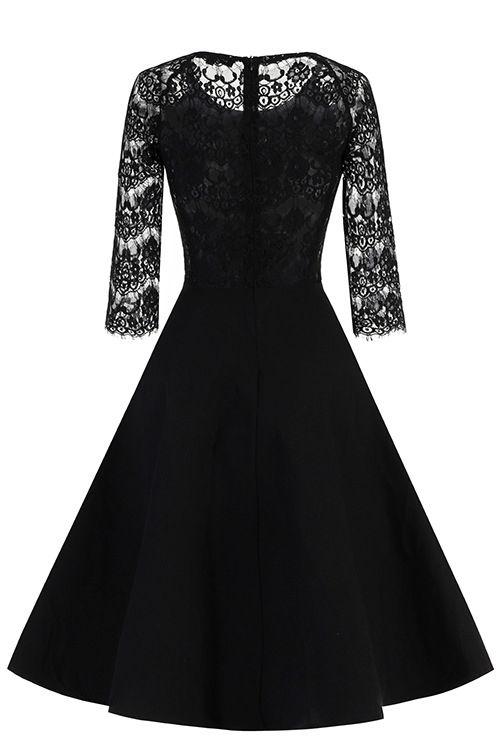 New Women Round Neck Vintage Lace Dress