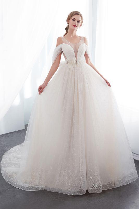 Elegant A-Line Sleeveless Floor Length Ivory Wedding Dresses Cheap