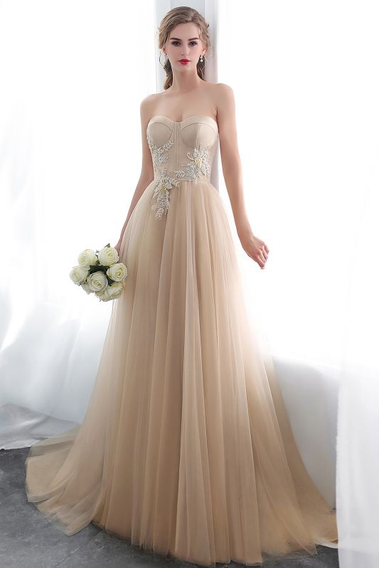 NATHALIE | A-line Strapless Sweetheart Floor Length Appliques Champagne Evening Dresses