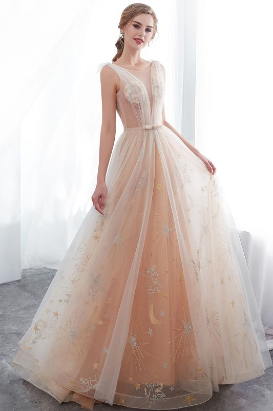 NANETTE   A-line Sleeveless Long Tulle Appliques Champangne Evening Dresses with Sash