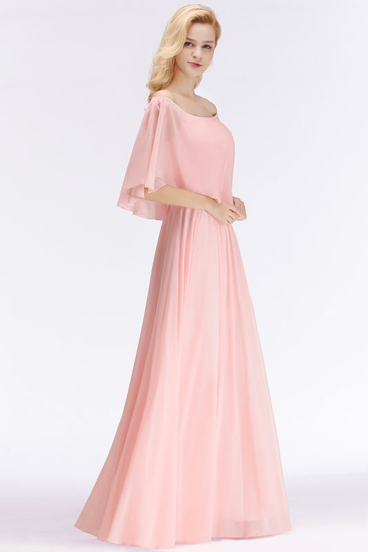 NOAH   A-line Long Off-the-shoulder Pink Bridesmaid Dresses with Sleeves