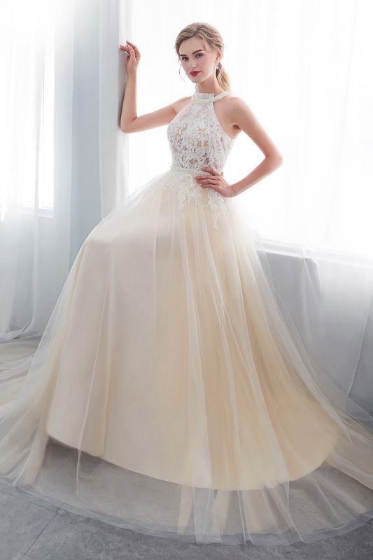 NATALIA | A-line Halter Floor Length Appliqued Tulle Evening Dresses