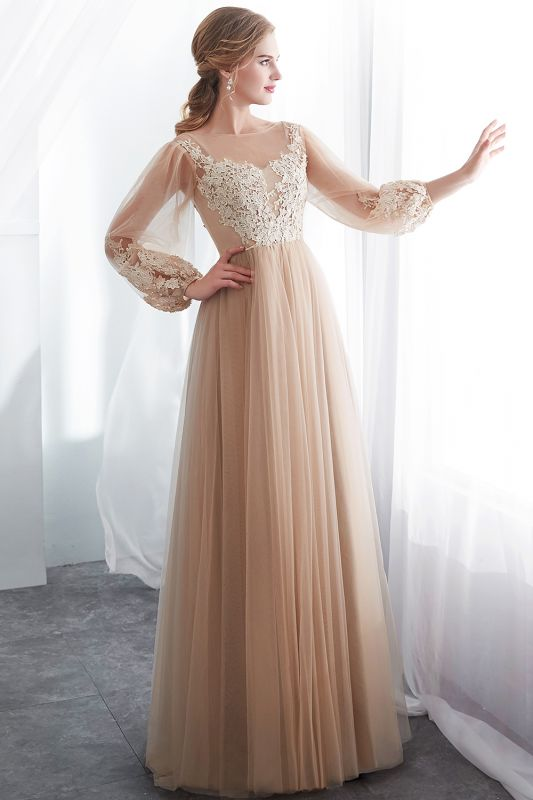 NATALIE   A-line Long Sleeves Appliques Tulle Champagne Evening Dresses
