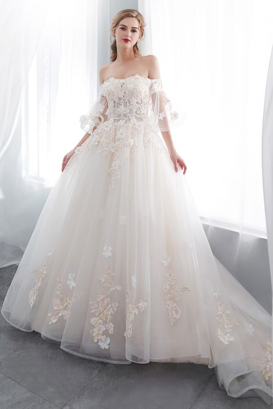 Sexy Off The Shoulder Floor Length Lace Appliques Tulle Ball Gown Wedding Dresses