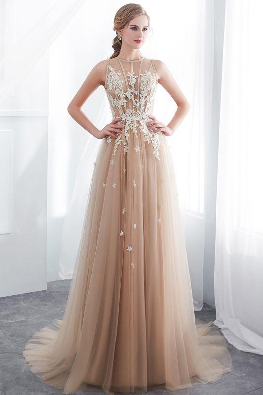 NANNIE | Aline Floor Length Sleeveless Appliqued Tulle Evening Dresses