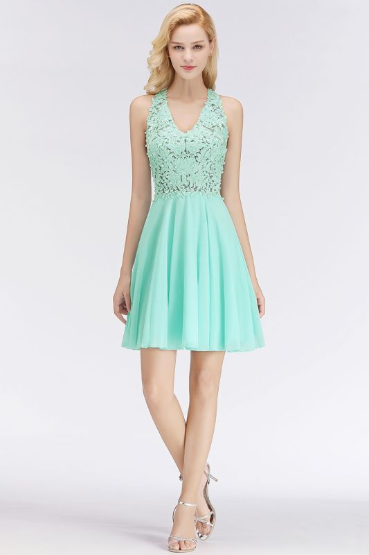 NONA | A-line V-neck Sleeveless Short Appliques Chiffon Homecoming Dresses