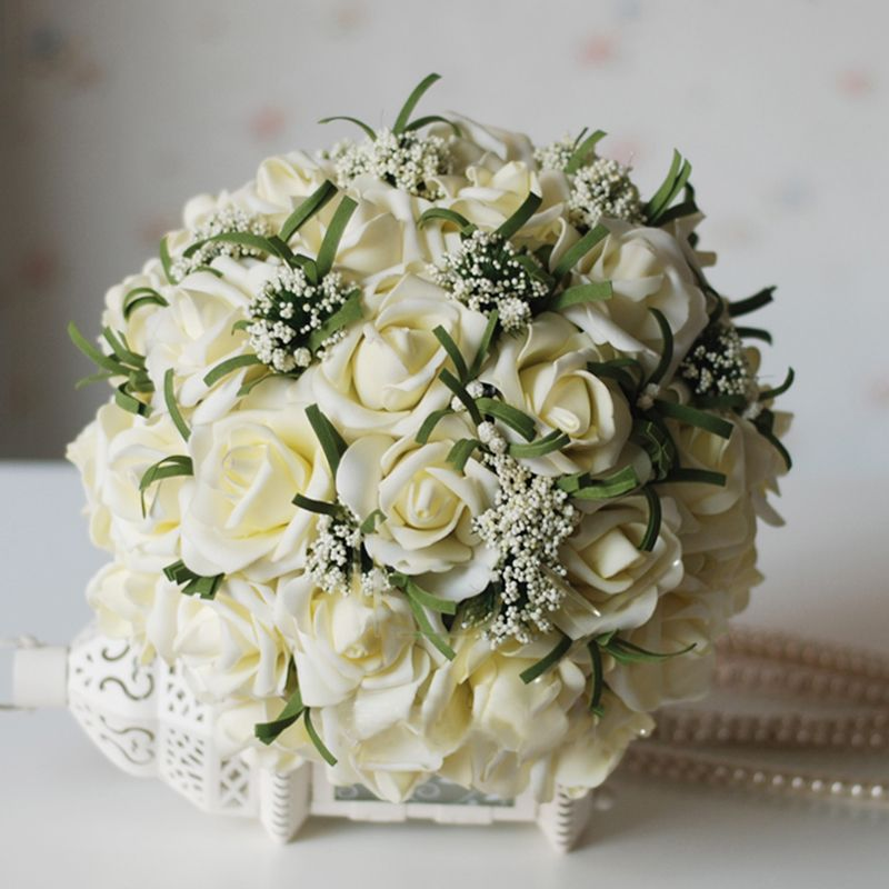 Silk Rose Wedding Bouquet in Ivory with Ribbons