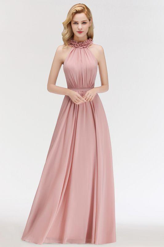MARGUERITE   A-line Floor Length Halter Sleeveless Ruffled Chiffon Bridesmaid Dresses
