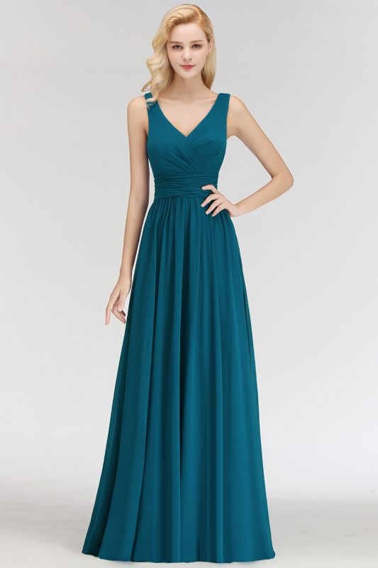 NORA | A-line V-neck Sleeveless Floor Length Ruffles Chiffon Bridesmaid Dresses