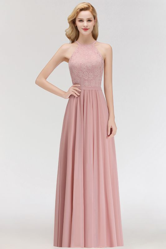 MARIANNA | A-line Sleeveless Halter Long Lace Chiffon Bridesmaid Dresses