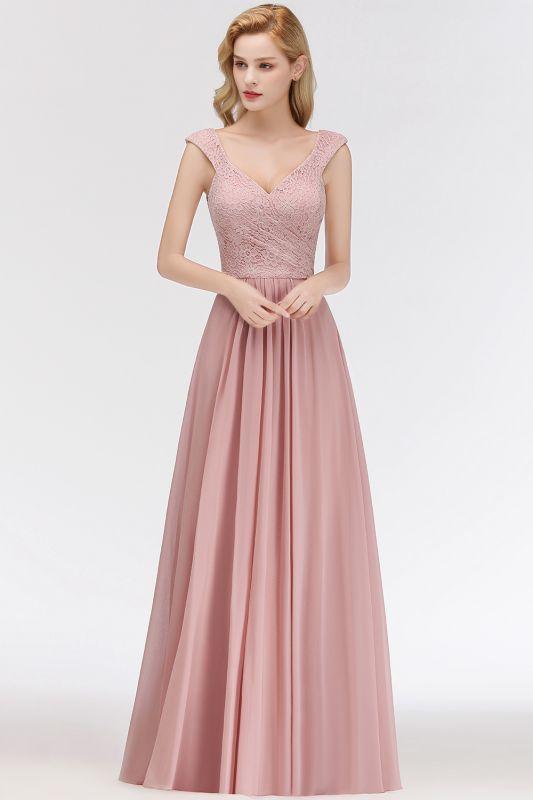 MARIA   A-line Long V-neck Sleeveless Lace Top Chiffon Bridesmaid Dresses