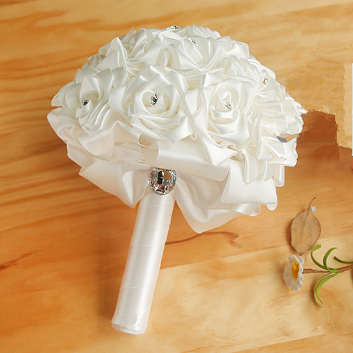 Colorful Silk Rose Wedding Bouquet with Crystals