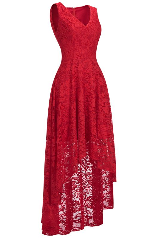 A-line Hi-lo V-neck Sleeveless Burgundy Lace Dresses